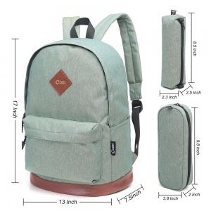 Pencil Bags and Padded Strap Backpack - PALE GREEN VERTICAL