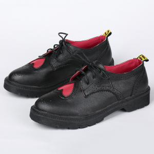 Heart Pattern Wingtip Lace Up Flat Shoes -