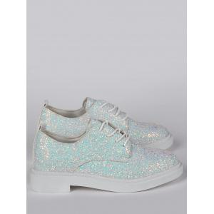 Tie Up Low Top Glitter Flat Shoes -
