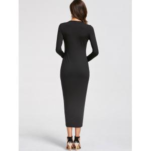 Long Sleeve Bodycon Tea Length Dress -