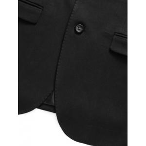 Lapel Single Breasted Flap Pocket Business Blazer -