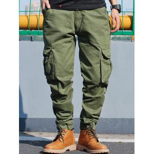 Poches Zip Fly Beam Feet Cargo Pants -