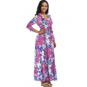 Floral Print Surplice Belted Maxi Dress -