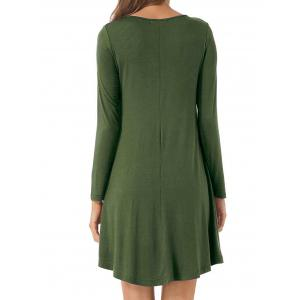 Long Sleeve V Neck T-shirt Skater Dress -