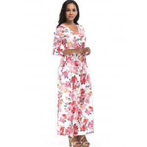 Rose Print Surplice Belted Maxi Dress -