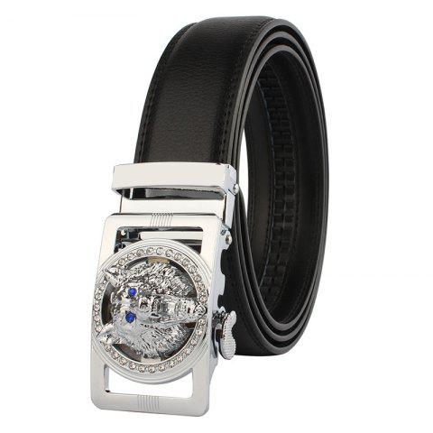 Rhinestone Alloy Wolf Carving Automatic Buckle Belt Argent et Noir 130cm