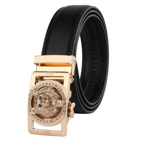 Discount Rhinestone Alloy Wolf Carving Automatic Buckle Belt BLACK AND GOLDEN 120CM