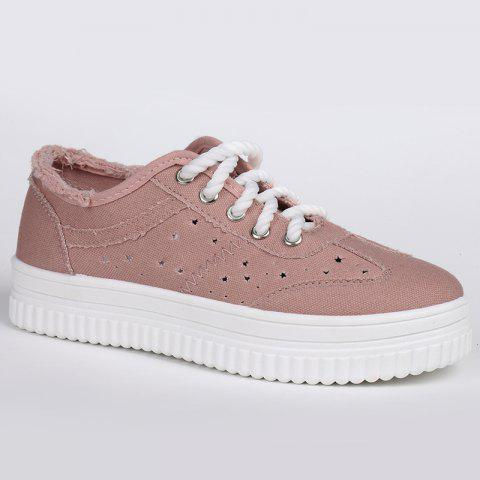 Best Lace Up Hollow Out Canvas Shoes - PINK 37 Mobile