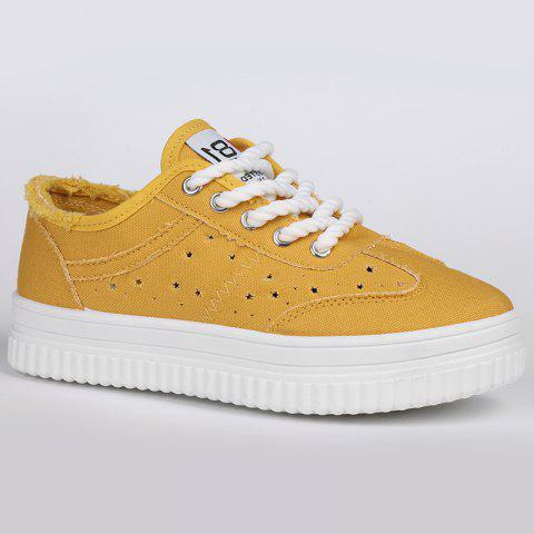 Best Lace Up Hollow Out Canvas Shoes - YELLOW 39 Mobile