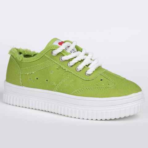 Cheap Lace Up Hollow Out Canvas Shoes GREEN 39