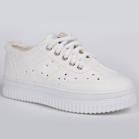 Fashion Lace Up Hollow Out Canvas Shoes - 39 WHITE Mobile