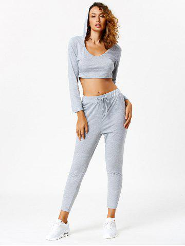 Discount Active Long Sleeve Hooded Crop Top and Pants