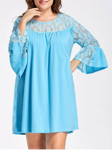 Outfits Lace Crochet Plus Size Bell Sleeve Tunic Top LAKE BLUE XL