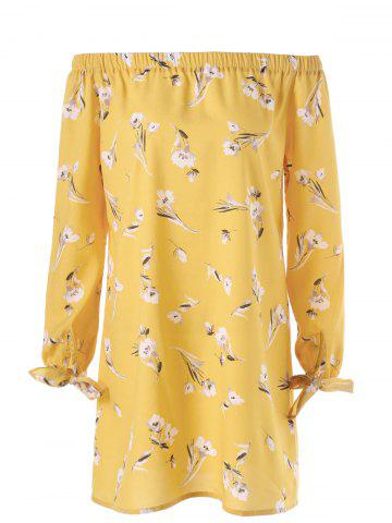 Outfits Floral Tie Sleeve Off The Shoulder Dress YELLOW M