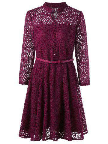 Shop Button Embellished Long Sleeve Flare Dress - 2XL WINE RED Mobile