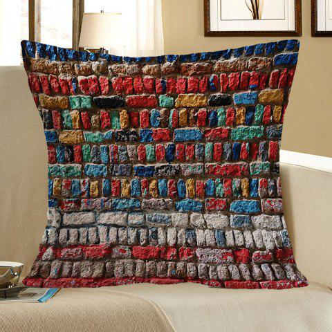 Cheap Colorful Brick Wall Pattern Pillow Case COLORFUL W18 INCH * L18 INCH