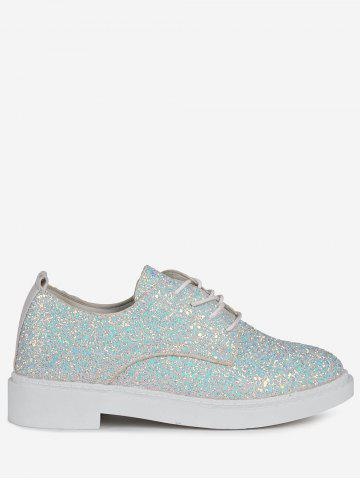 Buy Tie Up Low Top Glitter Flat Shoes - 37 WHITE Mobile