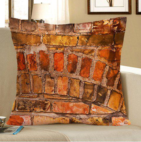 Outfits Brick Wall Pattern Square Pillow Case - W18 INCH * L18 INCH BROWN Mobile
