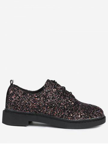 Store Tie Up Low Top Glitter Flat Shoes - 39 BLACK Mobile