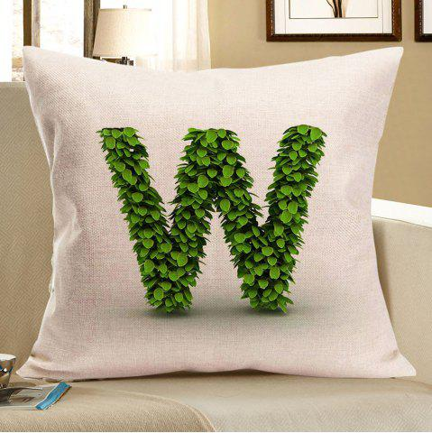 Outfit Leaves Letter W Printed Linen Throw Pillow Case - W18 INCH * L18 INCH GREEN Mobile
