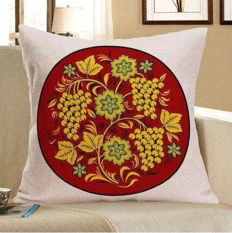 Fashion Grapes Flowers Printed Linen Pillow Case BROWN W18 INCH * L18 INCH
