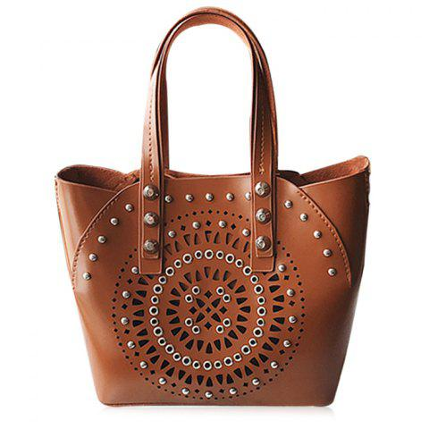 Online Stud Hollow Out 2 Pieces Handbag Set - BROWN  Mobile