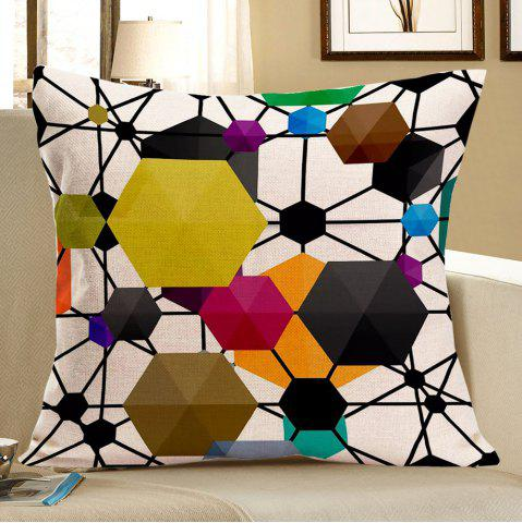 Best Geometric Hexagon Pattern Pillow Case COLORFUL W18 INCH * L18 INCH