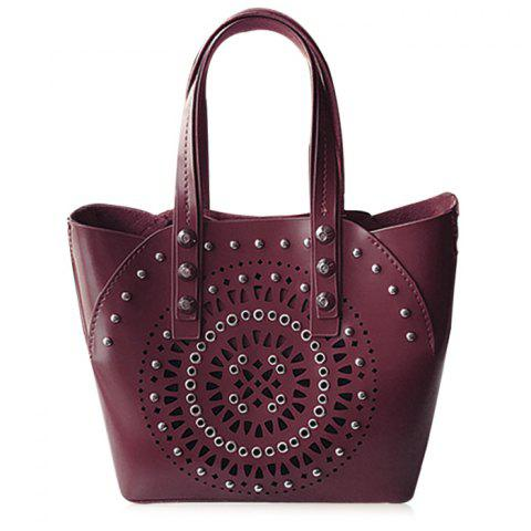 Hot Stud Hollow Out 2 Pieces Handbag Set WINE RED