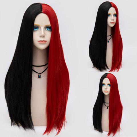 Latest Long Middle Part Color Block Straight Synthetic Party Wig - BLACK AND WHITE  Mobile