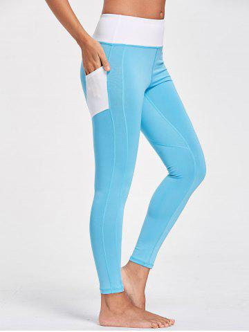 Online Active Heart Pattern Leggings with Pockets - S LAKE BLUE Mobile