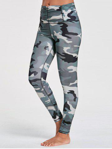 Fashion Ruched Waist Camouflage Printed Sports Leggings CAMOUFLAGE S