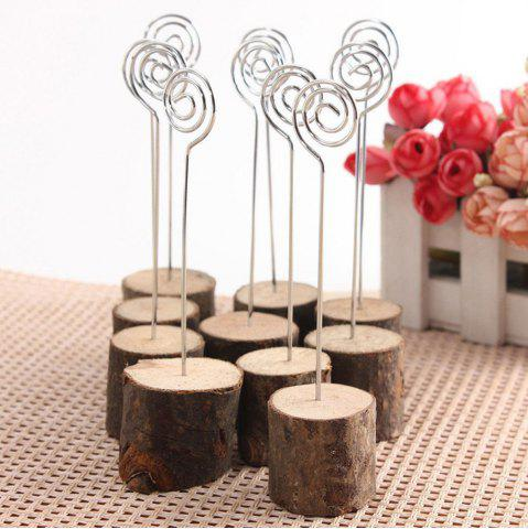 Discount 10 Pcs Wood Table Card Number Holders - BROWN  Mobile