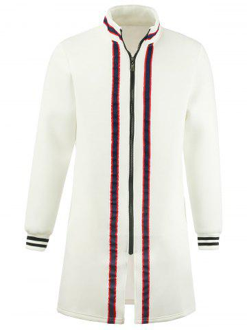 Stripe Braid Embellished Zip Up Longline Coat Blanc 2XL