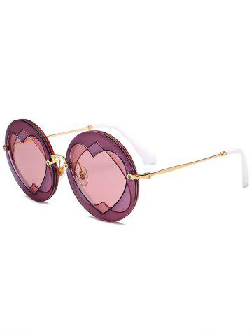 Chic Double Reverse Heart Rounded Sunglasses