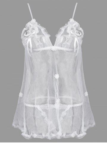 Outfit See Through Plus Size Babydoll with Applique - 3XL WHITE Mobile