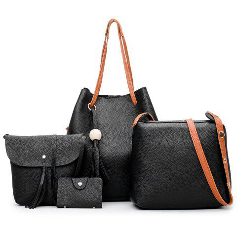 Cheap Tassel 4 Pieces Faux Leather Shoulder Bag Set