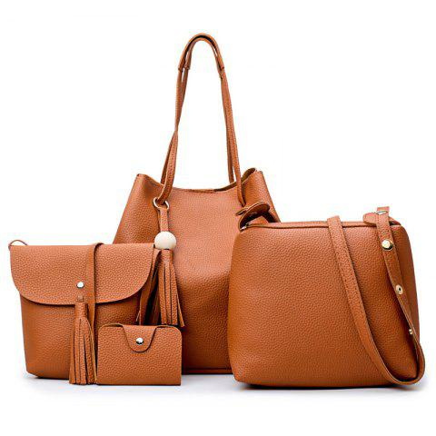 Tassel 4 pièces Faux Leather Shoulder Bag Set Brun