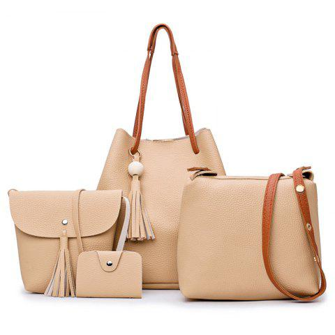 Tassel 4 pièces Faux Leather Shoulder Bag Set Kaki