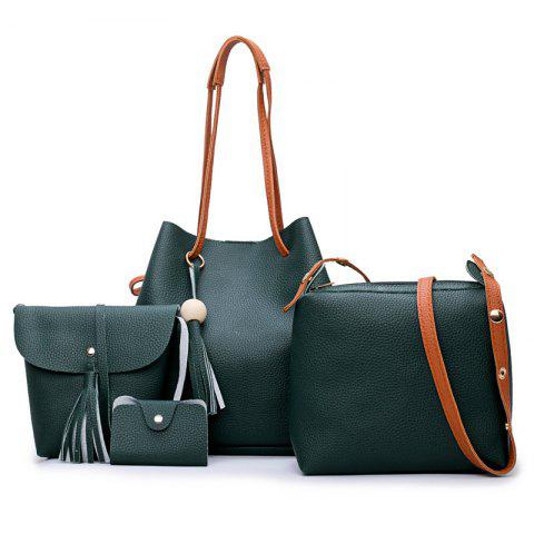 Tassel 4 pièces Faux Leather Shoulder Bag Set Vert