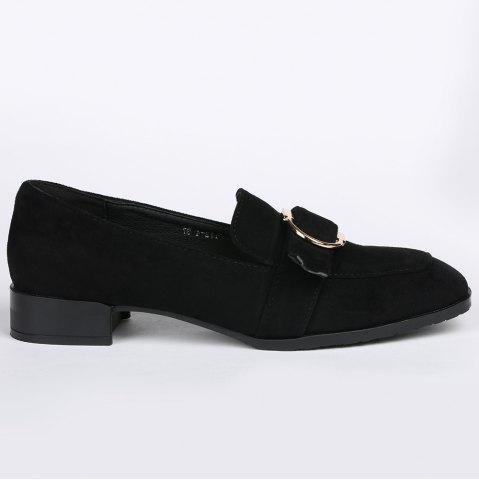 Square Toe Grommet Slip On Flat Shoes Noir 37