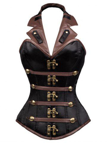 Latest Steam Punk Lace Up Corset Top - S BROWN Mobile