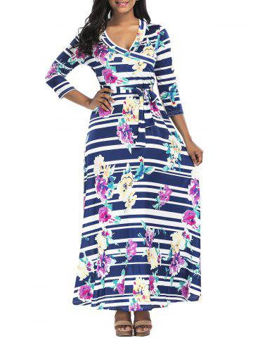 Fancy Floral Striped Belted Surplice Maxi Dress - M COLORMIX Mobile