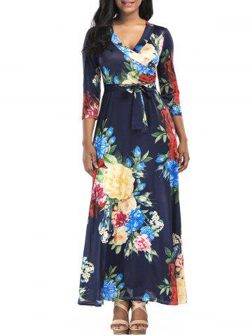 Outfit Floral Print Surplice Belted Maxi Dress PURPLISH BLUE 2XL