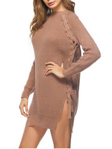 Hot Lace Up Cable Knit Sweater Dress - ONE SIZE LIGHT BROWN Mobile