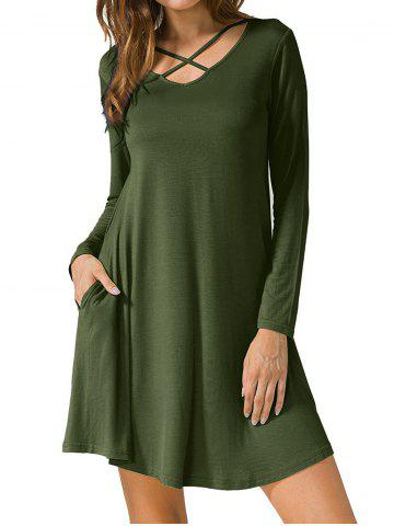 Affordable Long Sleeve V Neck T-shirt Dress ARMY GREEN S