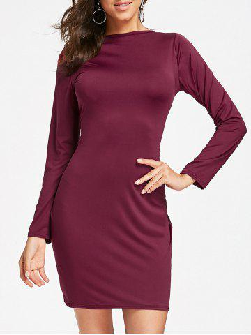 Online Full Zip Long Sleeve Pencil Dress WINE RED S