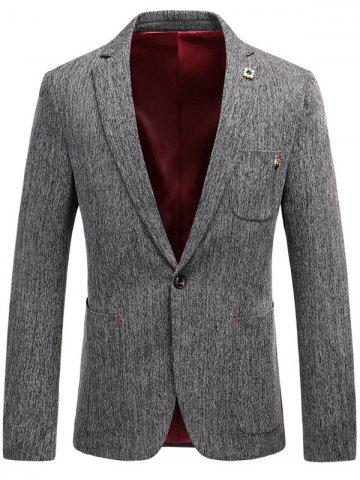 Sale Lapel Collar One Button Space Dyed Blazer - L GRAY Mobile