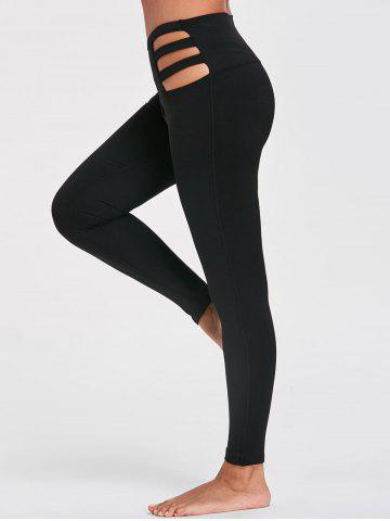 Chic Cutout Stretchy Running Leggings - S BLACK Mobile