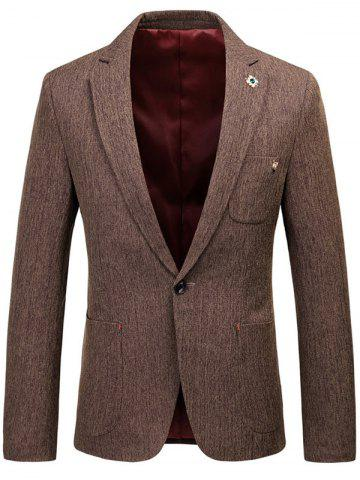 Latest Lapel Collar One Button Space Dyed Blazer - 3XL COFFEE Mobile