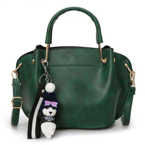 Buy Faux Leather Metal Handle Tote Bag GREEN